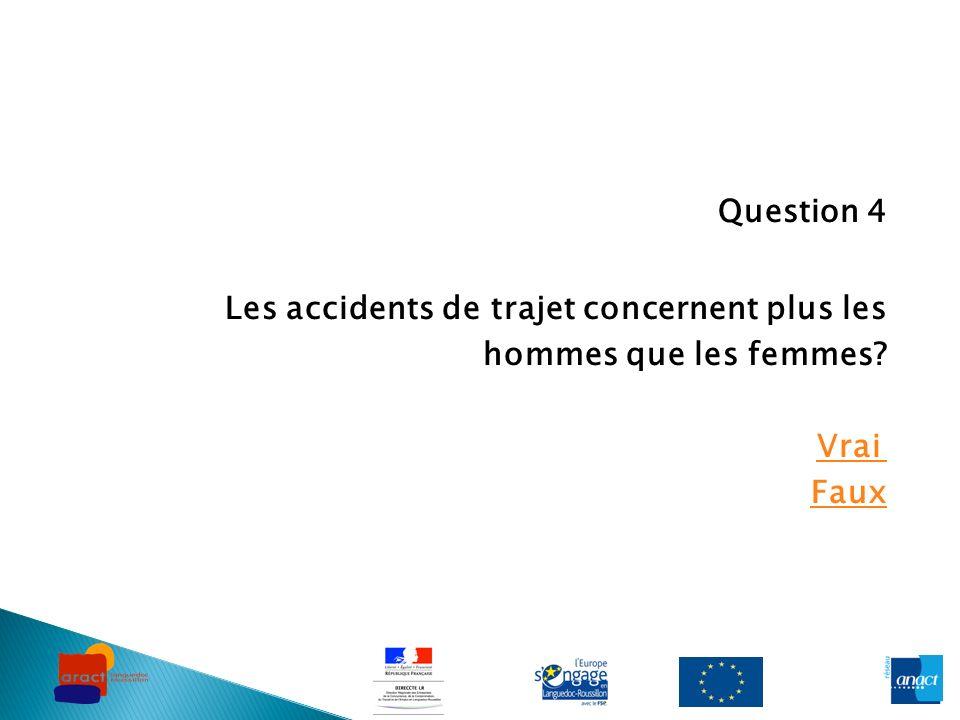 Question 4 Les accidents de trajet concernent plus les hommes que les femmes? Vrai Faux