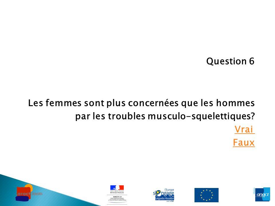 Question 6 Les femmes sont plus concernées que les hommes par les troubles musculo-squelettiques? Vrai Faux