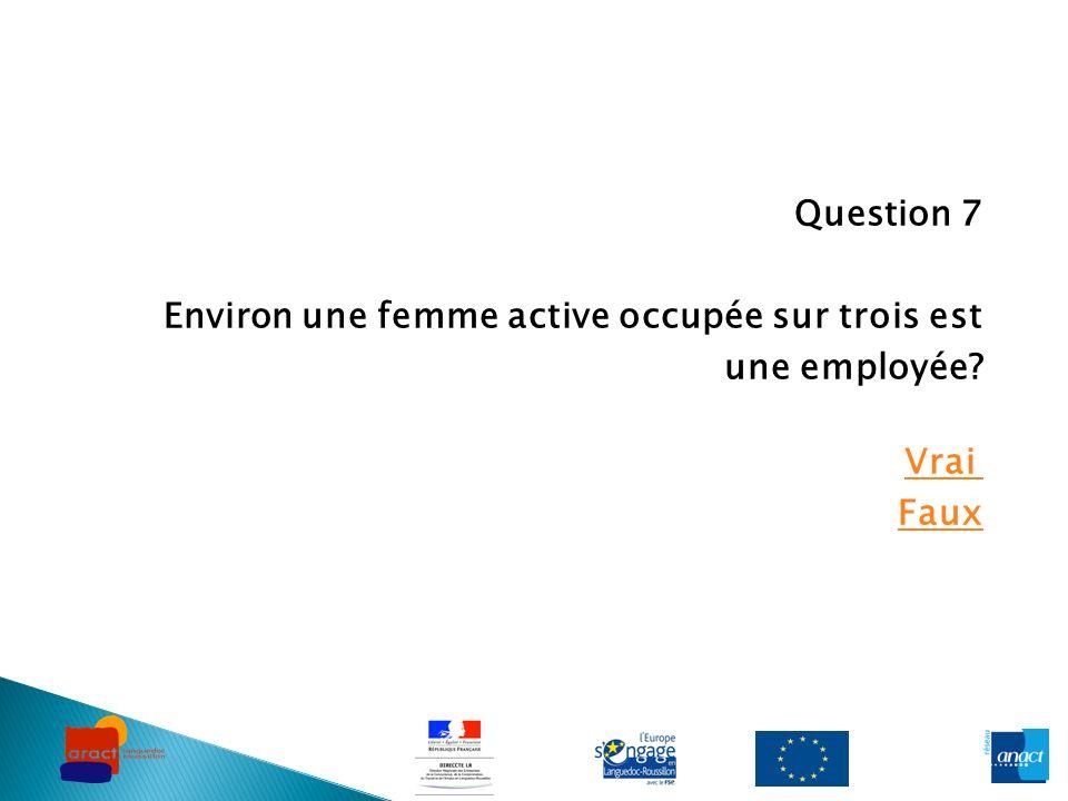 Question 7 Environ une femme active occupée sur trois est une employée? Vrai Faux