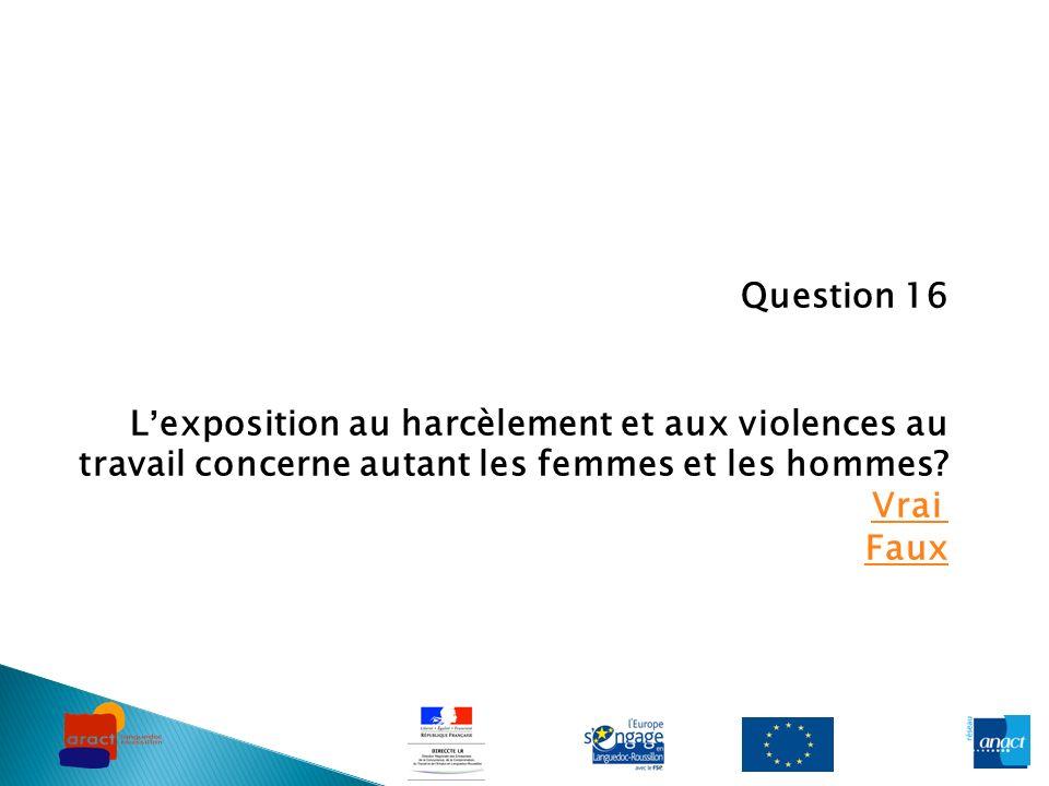 Question 16 Lexposition au harcèlement et aux violences au travail concerne autant les femmes et les hommes? Vrai Faux