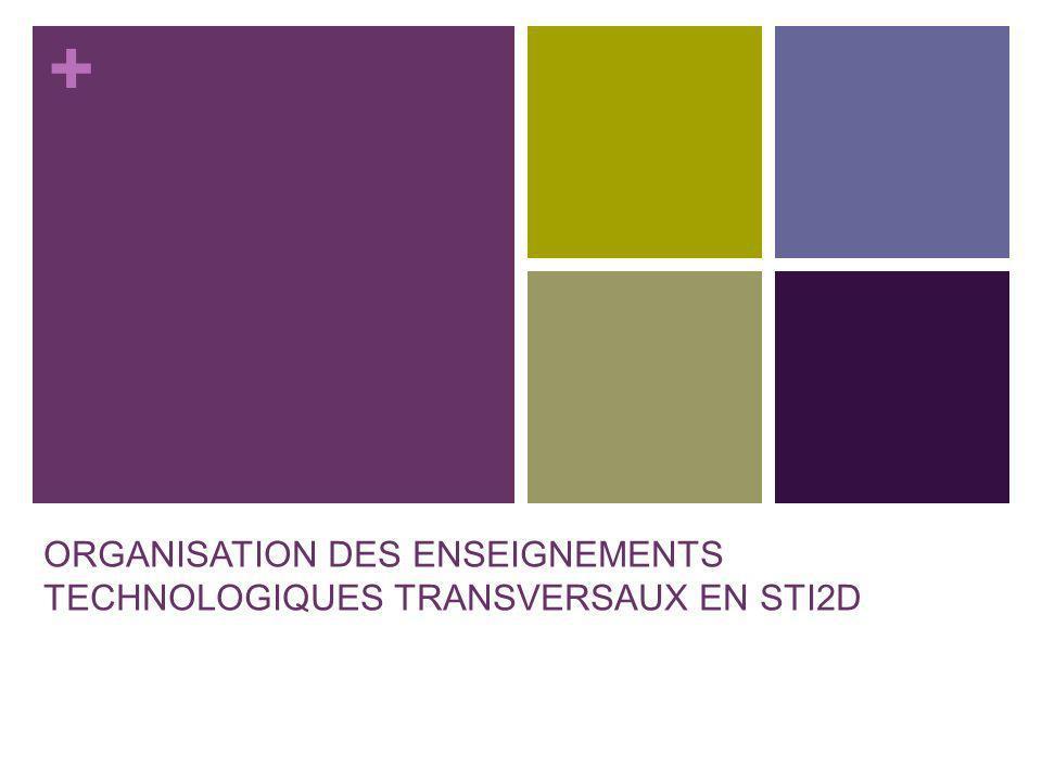 + ORGANISATION DES ENSEIGNEMENTS TECHNOLOGIQUES TRANSVERSAUX EN STI2D