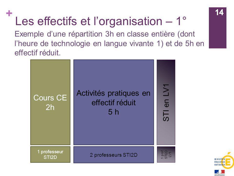 + Les effectifs et lorganisation – 1° Cours CE 2h Activités pratiques en effectif réduit 5 h STI en LV1 Exemple dune répartition 3h en classe entière
