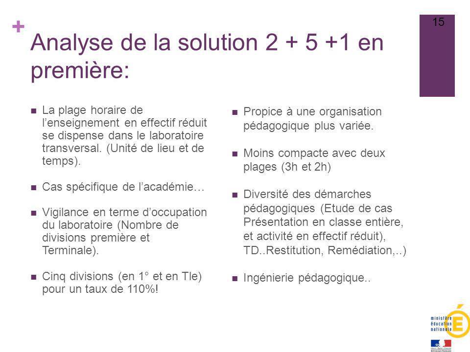 + Analyse de la solution 2 + 5 +1 en première: Propice à une organisation pédagogique plus variée. Moins compacte avec deux plages (3h et 2h) Diversit