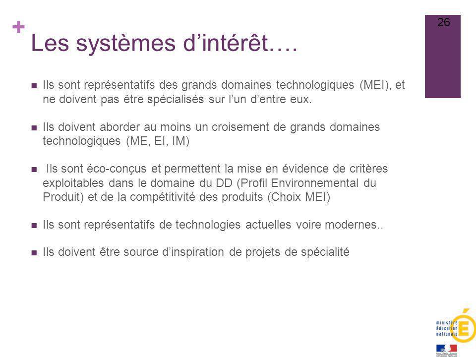 + Les systèmes dintérêt…. Ils sont représentatifs des grands domaines technologiques (MEI), et ne doivent pas être spécialisés sur lun dentre eux. Ils