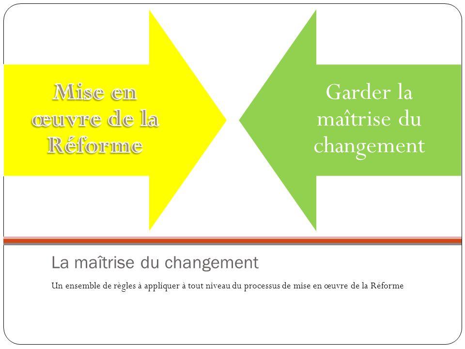 La maîtrise du changement Un ensemble de règles à appliquer à tout niveau du processus de mise en œuvre de la Réforme Garder la maîtrise du changement