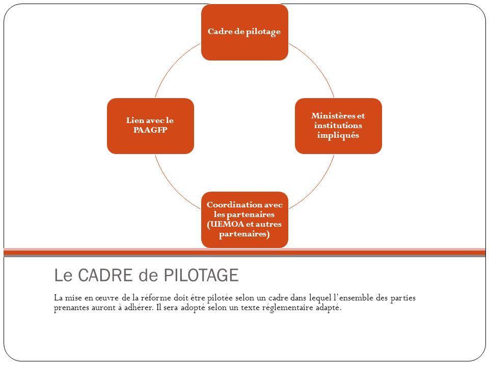 Le CADRE de PILOTAGE La mise en œuvre de la réforme doit être pilotée selon un cadre dans lequel lensemble des parties prenantes auront à adhérer. Il