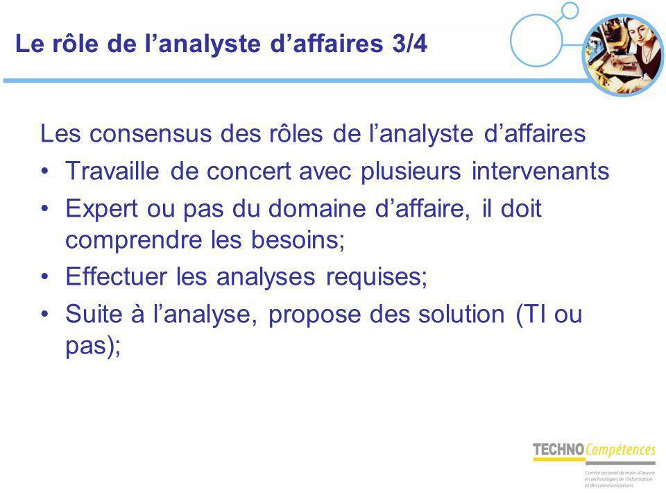 Le rôle de lanalyste daffaires 3/4 Les consensus des rôles de lanalyste daffaires Travaille de concert avec plusieurs intervenants Expert ou pas du do