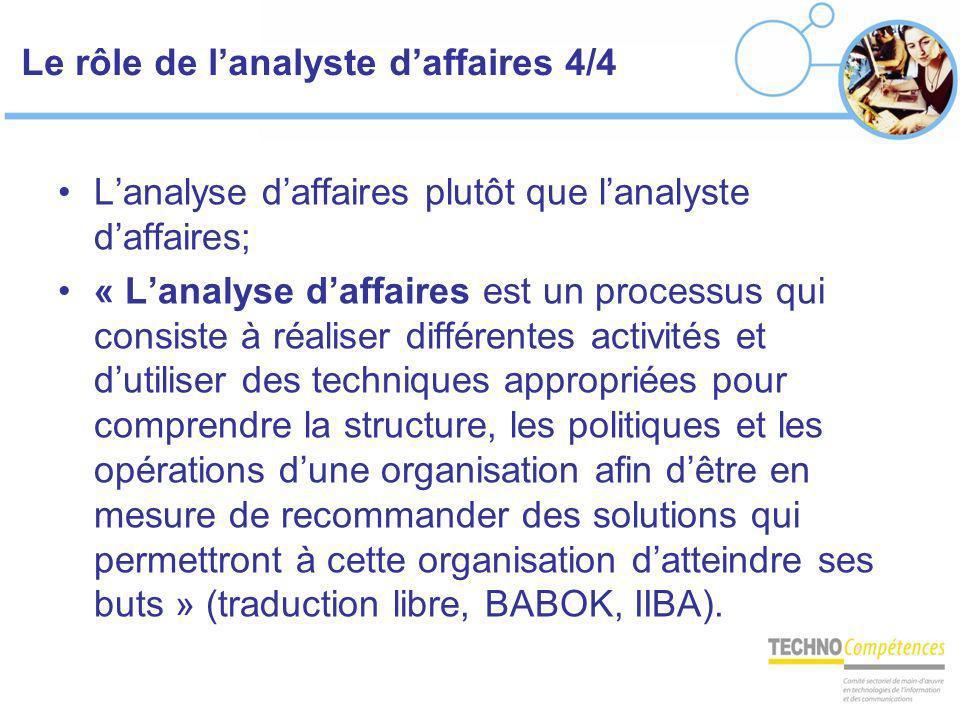 Le rôle de lanalyste daffaires 4/4 Lanalyse daffaires plutôt que lanalyste daffaires; « Lanalyse daffaires est un processus qui consiste à réaliser di