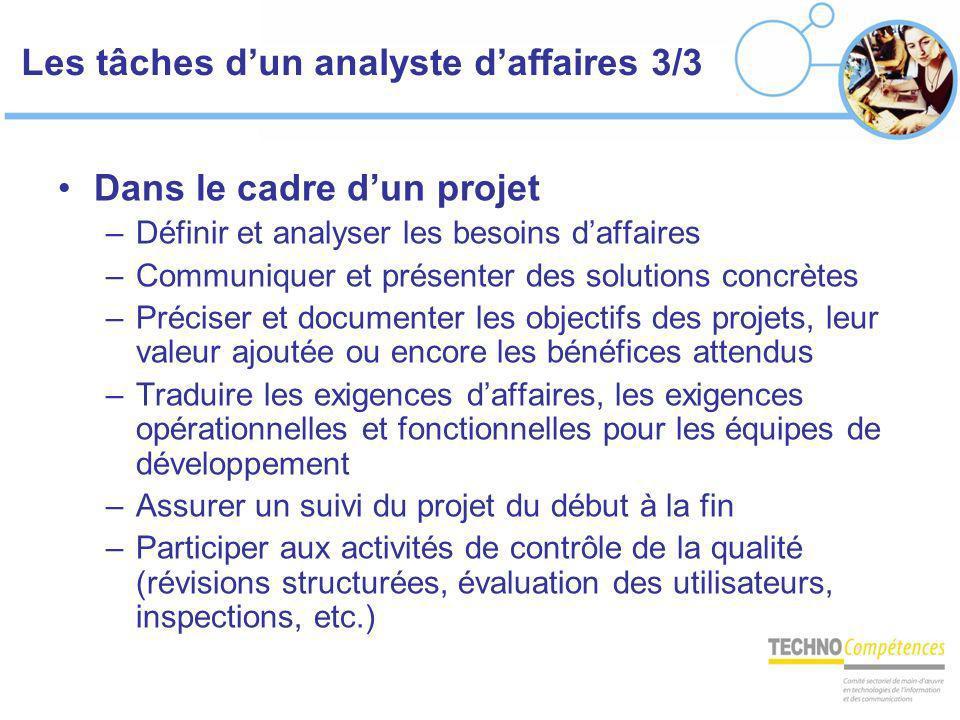 Les tâches dun analyste daffaires 3/3 Dans le cadre dun projet –Définir et analyser les besoins daffaires –Communiquer et présenter des solutions conc