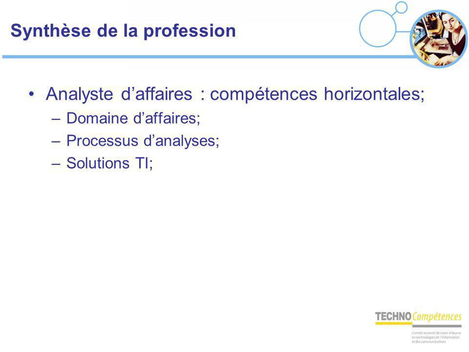 Synthèse de la profession Analyste daffaires : compétences horizontales; –Domaine daffaires; –Processus danalyses; –Solutions TI;