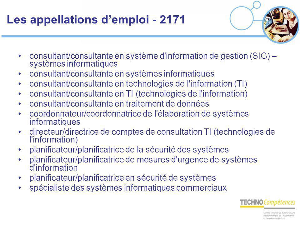 Les appellations demploi - 2171 consultant/consultante en système d'information de gestion (SIG) – systèmes informatiques consultant/consultante en sy