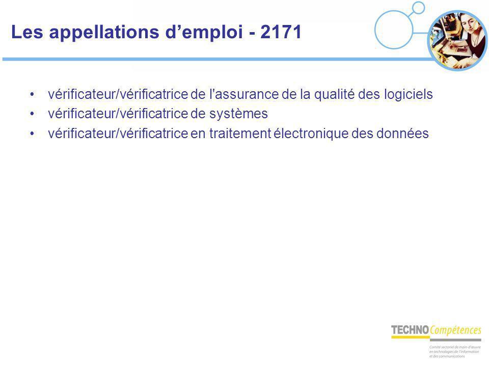 Les appellations demploi - 2171 vérificateur/vérificatrice de l'assurance de la qualité des logiciels vérificateur/vérificatrice de systèmes vérificat