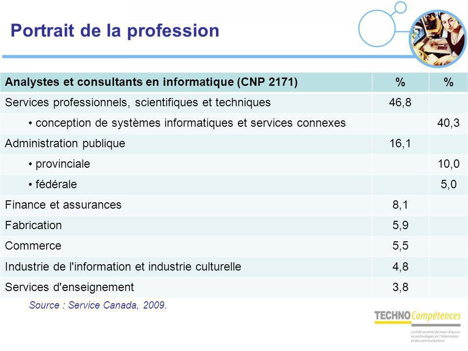 Portrait de la profession Analystes et consultants en informatique (CNP 2171)% Services professionnels, scientifiques et techniques46,8 conception de