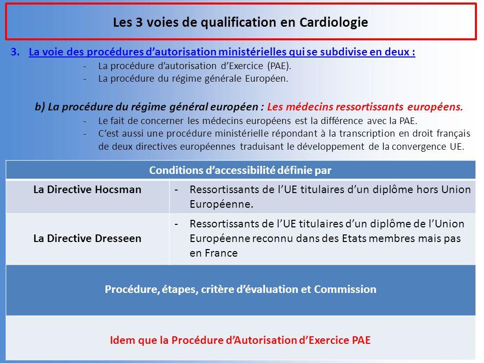 Les 3 voies de qualification en Cardiologie 3.La voie des procédures dautorisation ministérielles qui se subdivise en deux : -La procédure dautorisation dExercice (PAE).