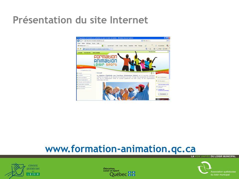 17 Présentation du site Internet www.formation-animation.qc.ca
