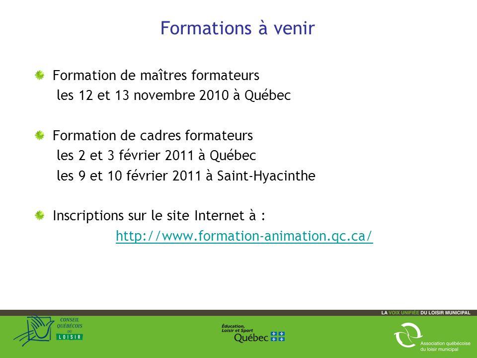 Formations à venir Formation de maîtres formateurs les 12 et 13 novembre 2010 à Québec Formation de cadres formateurs les 2 et 3 février 2011 à Québec les 9 et 10 février 2011 à Saint-Hyacinthe Inscriptions sur le site Internet à : http://www.formation-animation.qc.ca/ 32