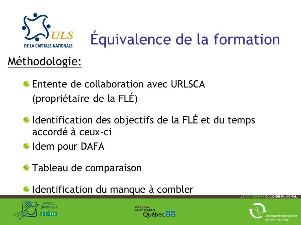 Équivalence de la formation Méthodologie: Entente de collaboration avec URLSCA (propriétaire de la FLÉ) Identification des objectifs de la FLÉ et du temps accordé à ceux-ci Idem pour DAFA Tableau de comparaison Identification du manque à combler