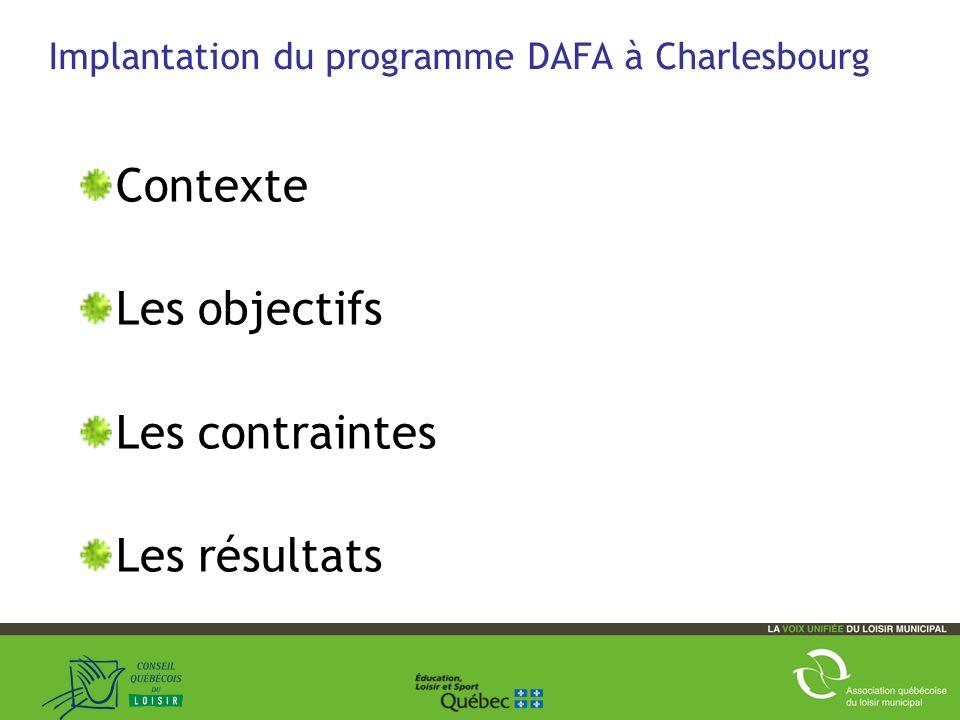 41 Implantation du programme DAFA à Charlesbourg Contexte Les objectifs Les contraintes Les résultats Améliorations 2011