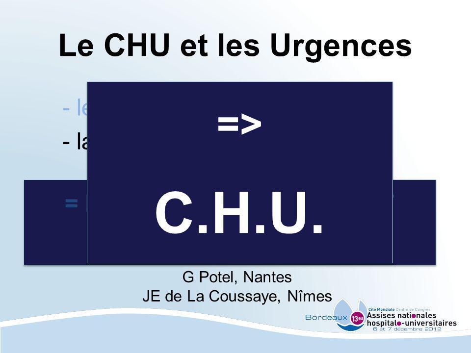 Le CHU et les Urgences - les 30 minutes - la gestion des flux G Potel, Nantes JE de La Coussaye, Nîmes = MIEUX REGULER LAMONT = MIEUX GERER LAVAL = MI