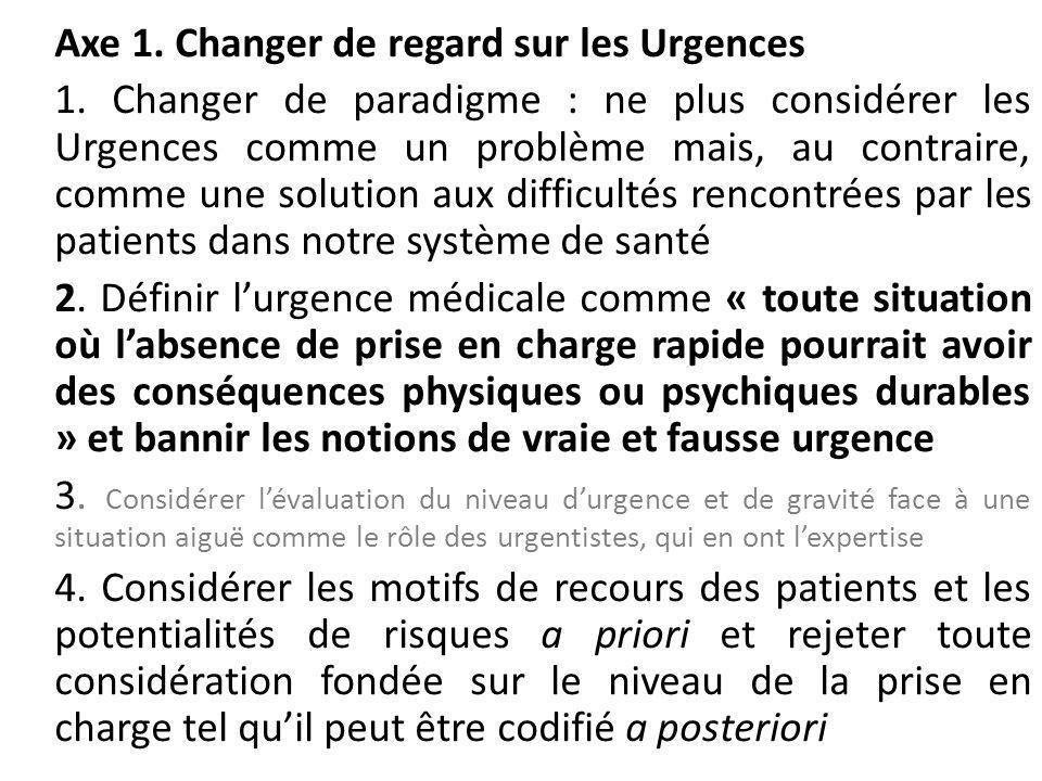 Axe 1. Changer de regard sur les Urgences 1. Changer de paradigme : ne plus considérer les Urgences comme un problème mais, au contraire, comme une so