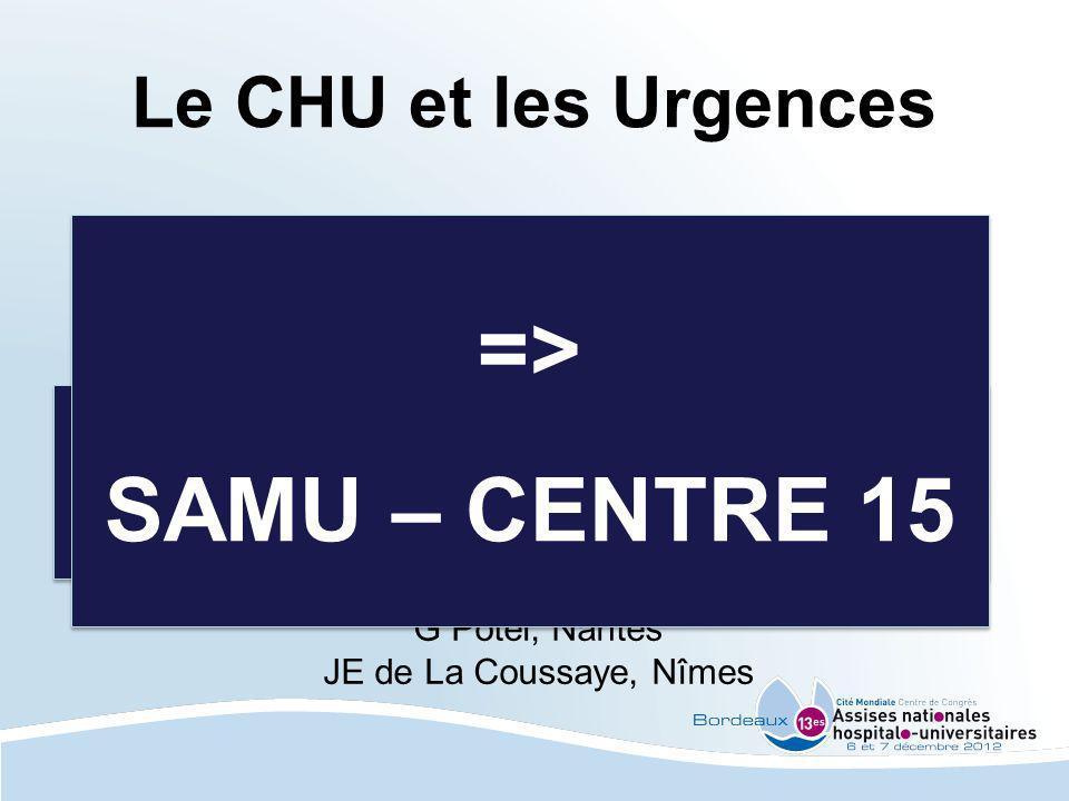 Le CHU et les Urgences - les 30 minutes - la gestion des flux G Potel, Nantes JE de La Coussaye, Nîmes = MIEUX REGULER LAMONT MIEUX GERER LAVAL = MIEU