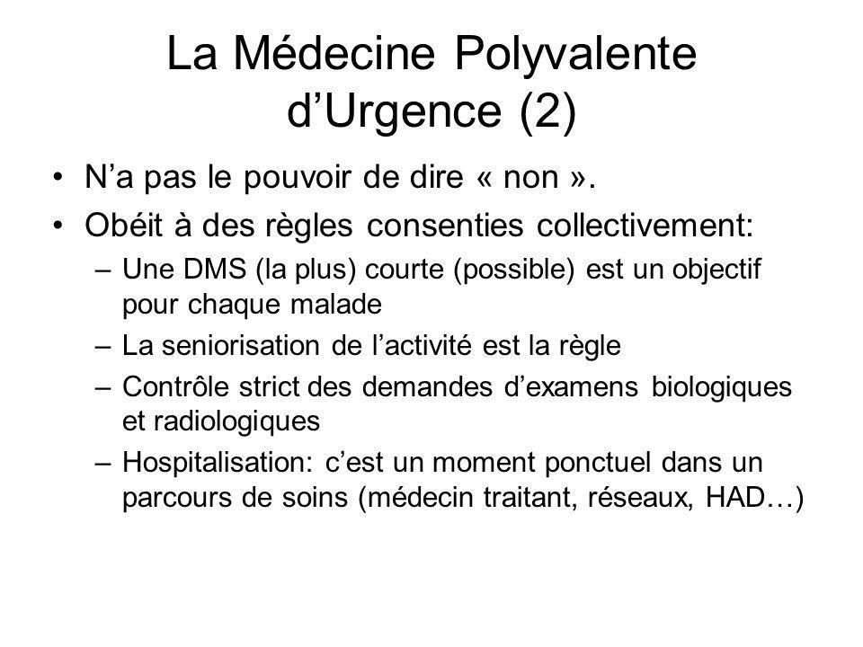 La Médecine Polyvalente dUrgence (2) Na pas le pouvoir de dire « non ». Obéit à des règles consenties collectivement: –Une DMS (la plus) courte (possi