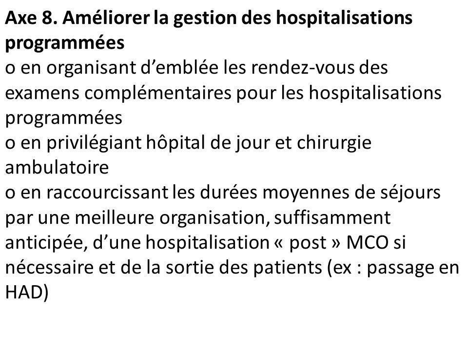 Axe 8. Améliorer la gestion des hospitalisations programmées o en organisant demblée les rendez-vous des examens complémentaires pour les hospitalisat