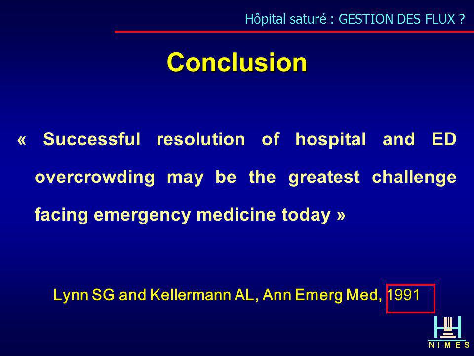 Conclusion « Successful resolution of hospital and ED overcrowding may be the greatest challenge facing emergency medicine today » Lynn SG and Kellerm