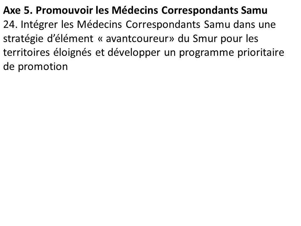 Axe 5. Promouvoir les Médecins Correspondants Samu 24. Intégrer les Médecins Correspondants Samu dans une stratégie délément « avantcoureur» du Smur p