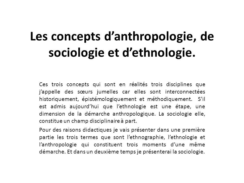 Les concepts danthropologie, de sociologie et dethnologie. Ces trois concepts qui sont en réalités trois disciplines que jappelle des sœurs jumelles c
