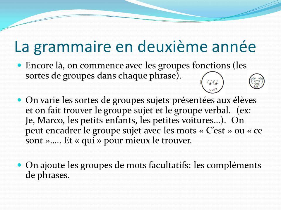 La grammaire en deuxième année Encore là, on commence avec les groupes fonctions (les sortes de groupes dans chaque phrase). On varie les sortes de gr