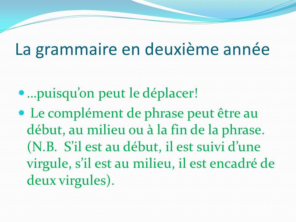 La grammaire en deuxième année …puisquon peut le déplacer! Le complément de phrase peut être au début, au milieu ou à la fin de la phrase. (N.B. Sil e