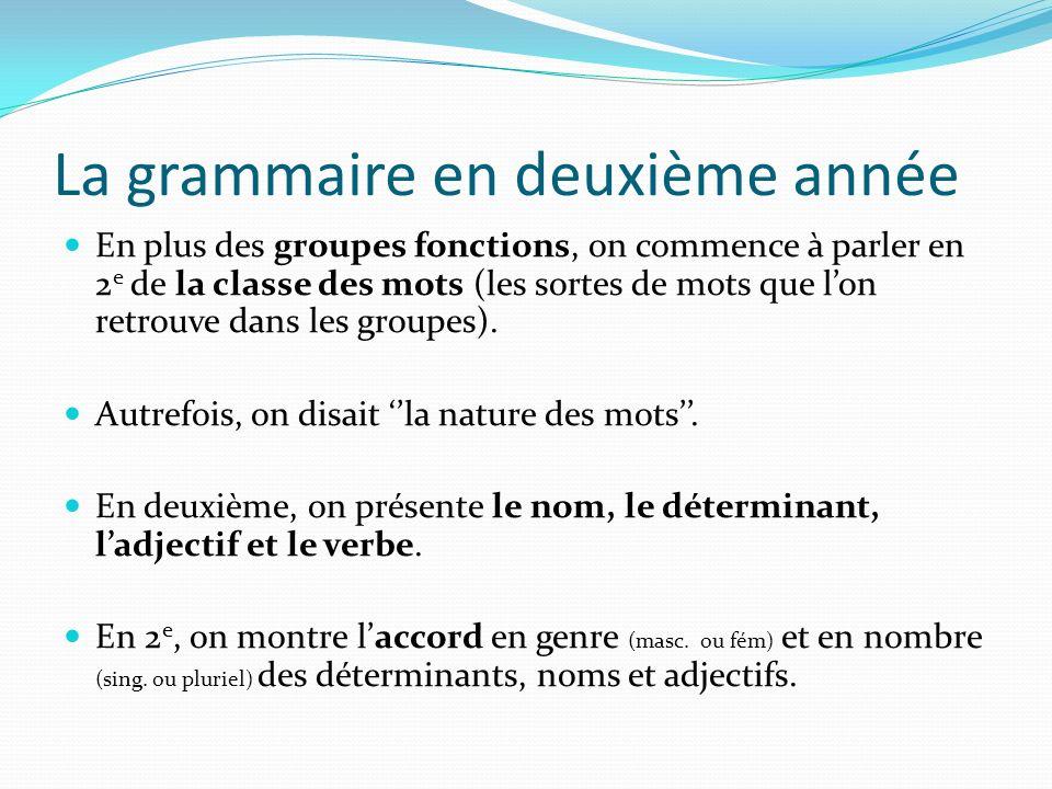 La grammaire en deuxième année En plus des groupes fonctions, on commence à parler en 2 e de la classe des mots (les sortes de mots que lon retrouve d