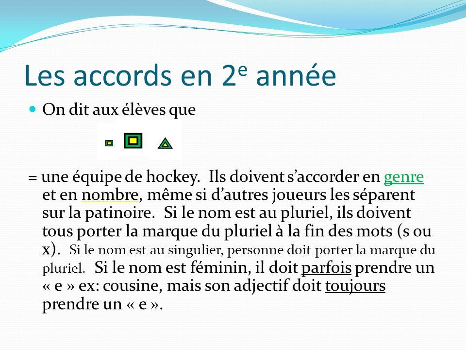 Les accords en 2 e année On dit aux élèves que = une équipe de hockey. Ils doivent saccorder en genre et en nombre, même si dautres joueurs les sépare
