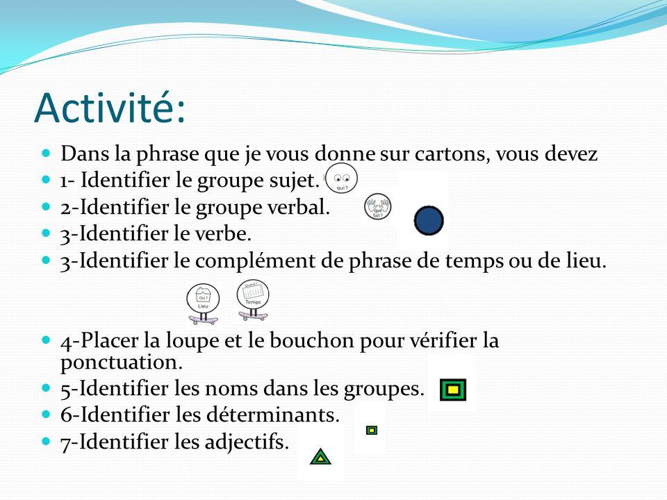 Activité: Dans la phrase que je vous donne sur cartons, vous devez 1- Identifier le groupe sujet. 2-Identifier le groupe verbal. 3-Identifier le verbe