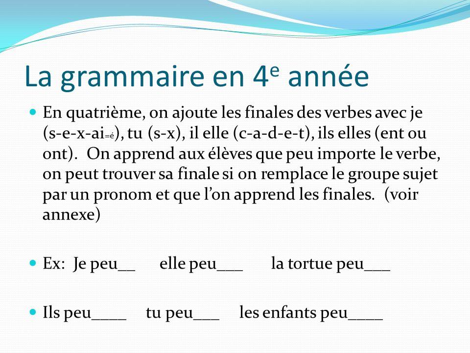 La grammaire en 4 e année En quatrième, on ajoute les finales des verbes avec je (s-e-x-ai =é ), tu (s-x), il elle (c-a-d-e-t), ils elles (ent ou ont)