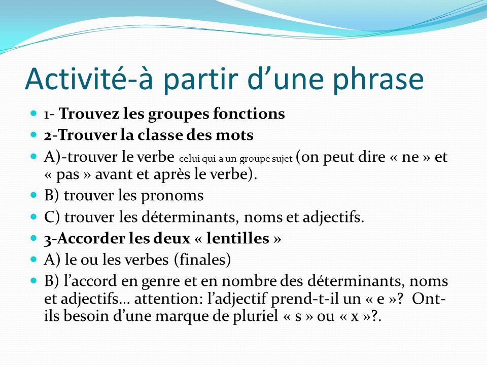 Activité-à partir dune phrase 1- Trouvez les groupes fonctions 2-Trouver la classe des mots A)-trouver le verbe celui qui a un groupe sujet (on peut d