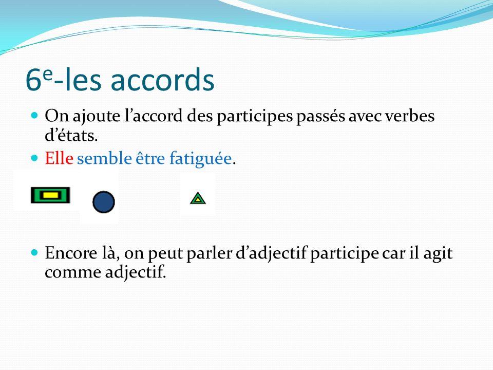 6 e -les accords On ajoute laccord des participes passés avec verbes détats. Elle semble être fatiguée. Encore là, on peut parler dadjectif participe