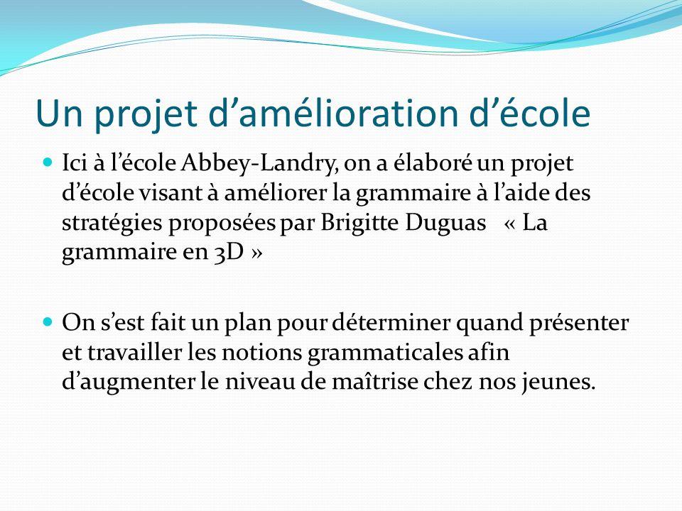 Un projet damélioration décole Ici à lécole Abbey-Landry, on a élaboré un projet décole visant à améliorer la grammaire à laide des stratégies proposé