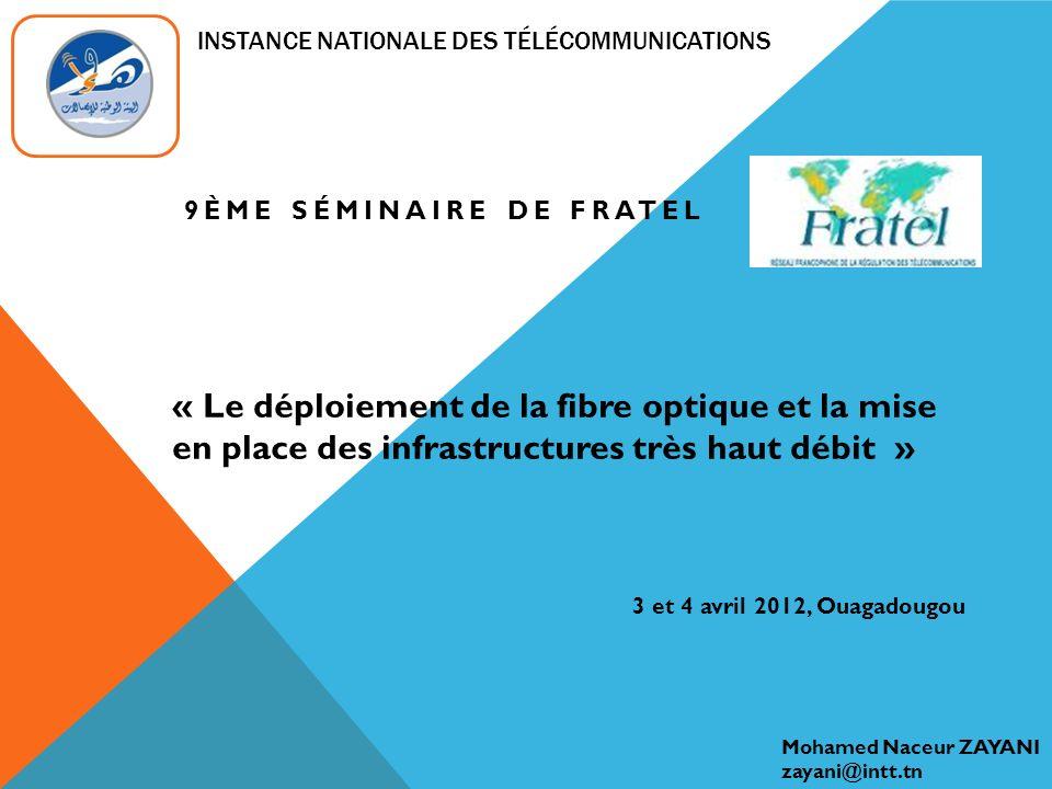 INFRASTRUCTURE ALTERNATIVE FIBRE OPTIQUE EN TUNISIE (3) « Le déploiement de la fibre optique » 3 et 4 avril 2012, Ouagadougou LINT lance un projet de mise à jour du cadre juridique et réglementaire dans le but dintégrer les infrastructures alternatives FO dans le secteur des télécommunications et les soumettre aux mêmes règles et conditions que ORPT: 1.Définir linfrastructure alternative, 2.Définir les exploitants dinfrastructures alternatives, 3.Définir les conditions et les dispositions juridiques pour une utilisation commune d infrastructures alternatives.