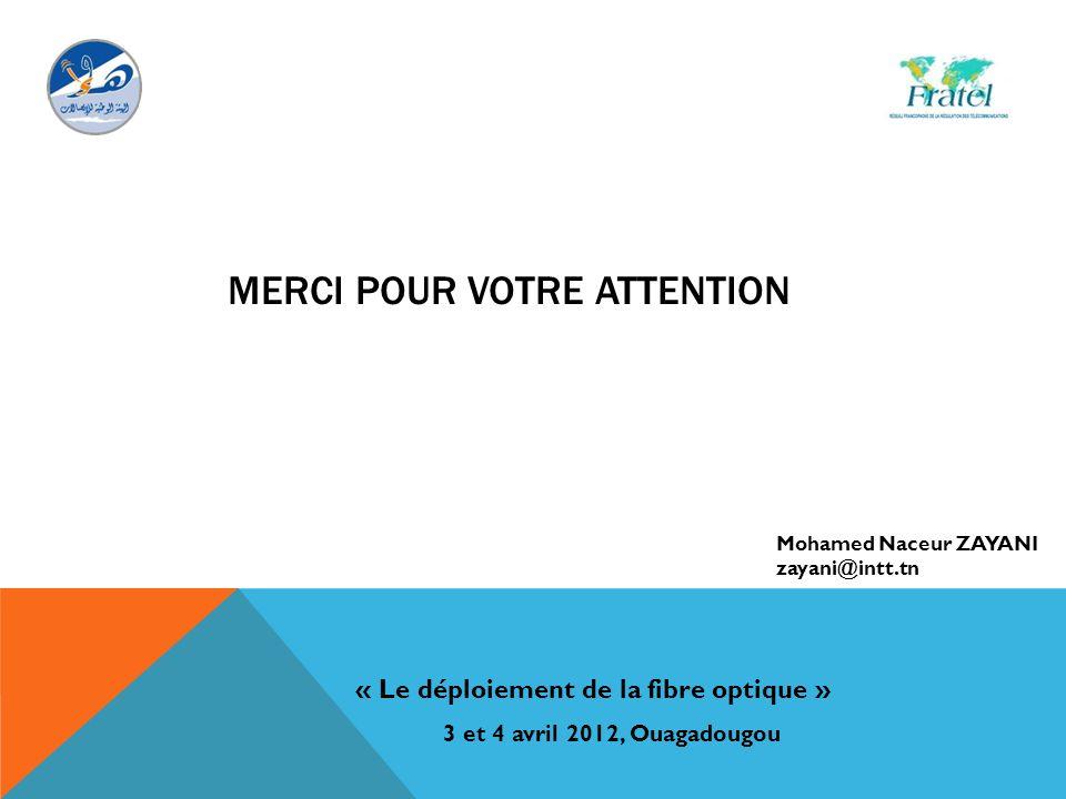 MERCI POUR VOTRE ATTENTION « Le déploiement de la fibre optique » 3 et 4 avril 2012, Ouagadougou Mohamed Naceur ZAYANI zayani@intt.tn