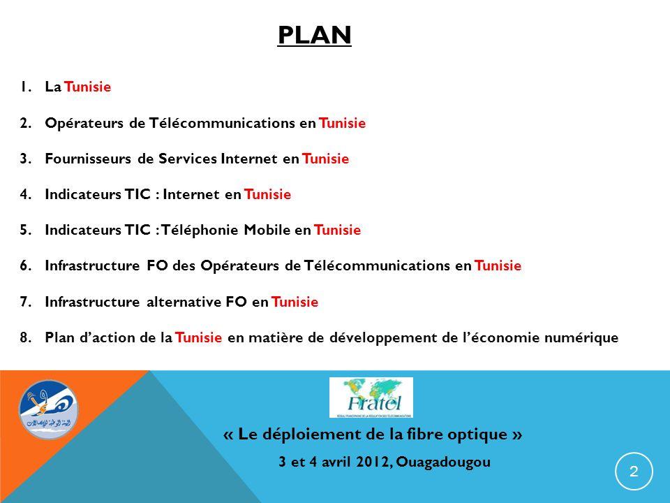 « Le déploiement de la fibre optique » 3 et 4 avril 2012, Ouagadougou Nom Officiel : République Tunisienne Capitale : Tunis (2,3 Millions dhabitants en 2010) Population : 10,2 Millions dhabitants en 2010 Monnaie : Dinar Tunisien Superficie : 162.155 Km 2 PIB/tête : 2285 (en 2010) Langue Officielle : Arabe 3