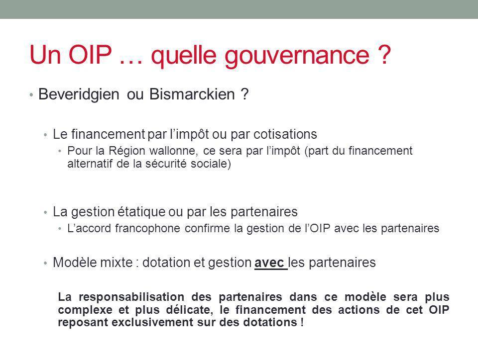 Un OIP … quelle gouvernance ? Beveridgien ou Bismarckien ? Le financement par limpôt ou par cotisations Pour la Région wallonne, ce sera par limpôt (p