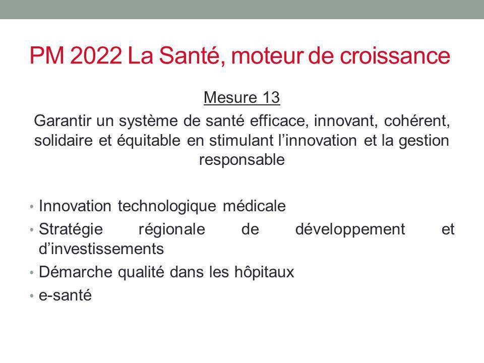 PM 2022 La Santé, moteur de croissance Mesure 13 Garantir un système de santé efficace, innovant, cohérent, solidaire et équitable en stimulant linnov