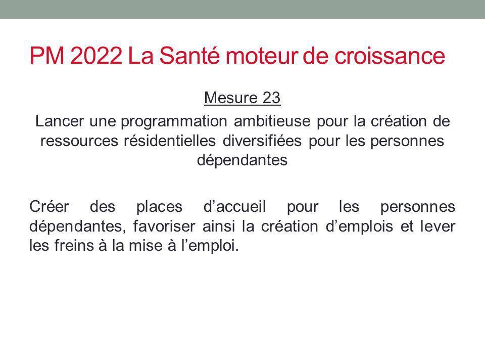 PM 2022 La Santé moteur de croissance Mesure 23 Lancer une programmation ambitieuse pour la création de ressources résidentielles diversifiées pour le