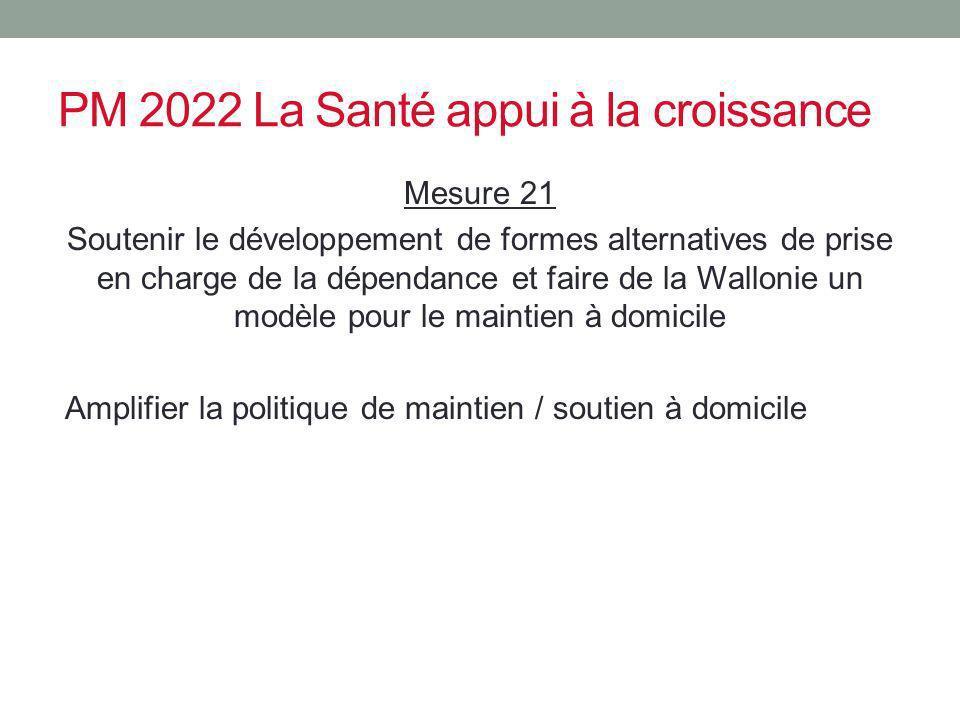 PM 2022 La Santé appui à la croissance Mesure 21 Soutenir le développement de formes alternatives de prise en charge de la dépendance et faire de la W
