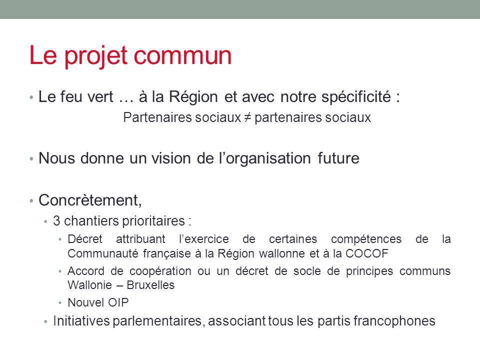 Le projet commun Le feu vert … à la Région et avec notre spécificité : Partenaires sociaux partenaires sociaux Nous donne un vision de lorganisation f