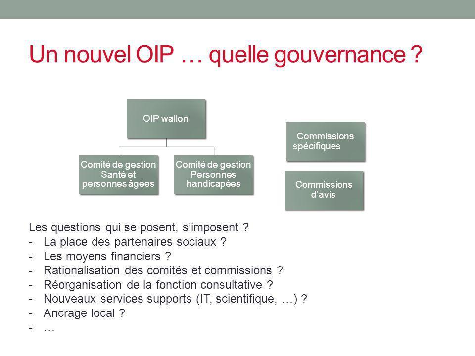 Un nouvel OIP … quelle gouvernance ? OIP wallon Comité de gestion Santé et personnes âgées Comité de gestion Personnes handicapées Commissions spécifi