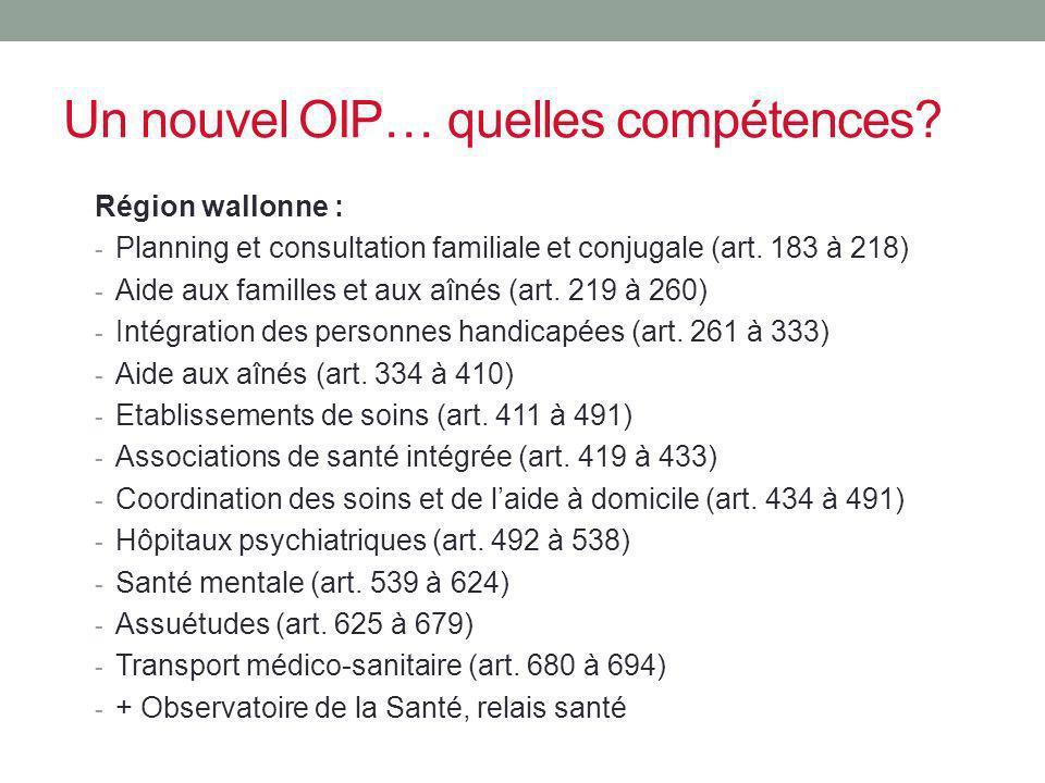Un nouvel OIP… quelles compétences? Région wallonne : - Planning et consultation familiale et conjugale (art. 183 à 218) - Aide aux familles et aux aî