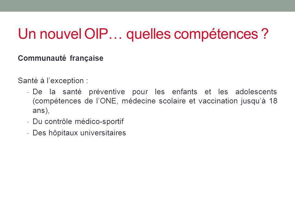 Un nouvel OIP… quelles compétences ? Communauté française Santé à lexception : - De la santé préventive pour les enfants et les adolescents (compétenc